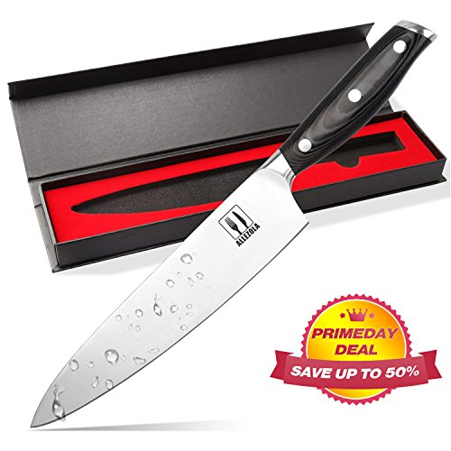 Professional Chef's Knife, Allezola 7.5 Inch German High Carbon Stainless Steel, Very Sharp, Balanced Comfortable Handle, Multipurpose Top Kitchen Knife for Home and Restaurant