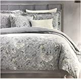 Tahari Home Maison Bedding King Size Luxury Cotton 3 Piece Duvet Cover Shams Set Jacobean Floral Pattern in Shades of Tan Gray Cream Taupe on Gray