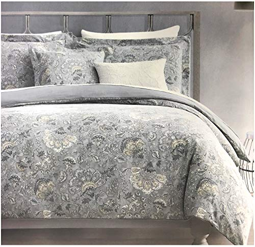 - Tahari Home Maison Bedding King Size Luxury Cotton 3 Piece Duvet Cover Shams Set Jacobean Floral Pattern in Shades of Tan Gray Cream Taupe on Gray