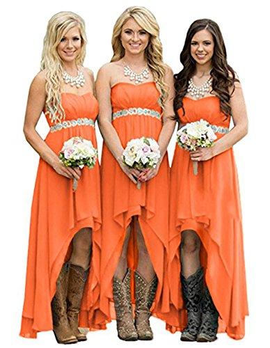 Wedding Gowns Dresses Bridesmaid High Orange Women' Party Strapless DreHouse Low gBTRZRq