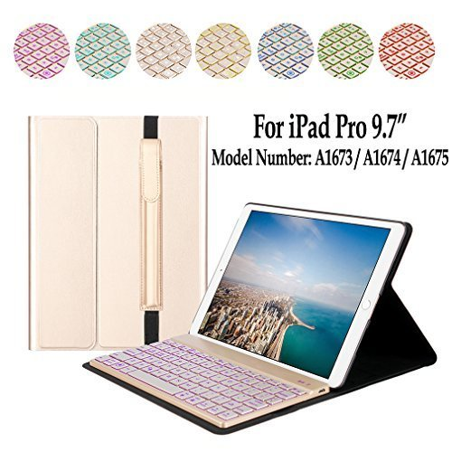 Ejotc iPad Pro 9.7 Keyboard Case with Pencil Holder Case with Detachable 7 Colors Backlit Bluetooth Keyboard,Leather Protective Cover for iPad Pro 9.7.(Gold)