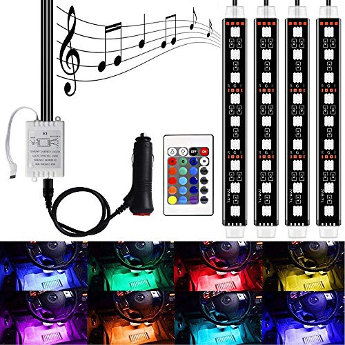 LED Interior Car Lights - HenLight 4pcs 7 Color RGB 36 LED Decorative Atmosphere Neno Lights Strip Waterproof Underdash Lighting Kit with Wireless Remote Control and Car Charge