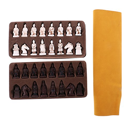 MonkeyJack Vintage Chinese Style Chess Set Folding Chessboard Resin Pieces Handicraft Collectible Gift for Kids Friends Toys - Chess Army Set