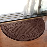 Small Rugs Olpchee Half Round Non-Slip Kitchen Bedroom Toilet Doormat Floor Rug Mat Keeps your Floors Clean Decorative Design (Small, Coffee)
