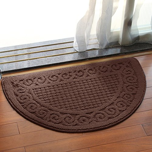 4 Round Camel (Olpchee Half Round Non-Slip Kitchen Bedroom Toilet Doormat Floor Rug Mat Keeps your Floors Clean Decorative Design (Large, Coffee))