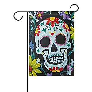 """PersonalizedShop Sugar Skull Flowers Day Of The Dead 12"""" x 18"""" Double Sided Fade Resistant Polyester Garden Flag"""