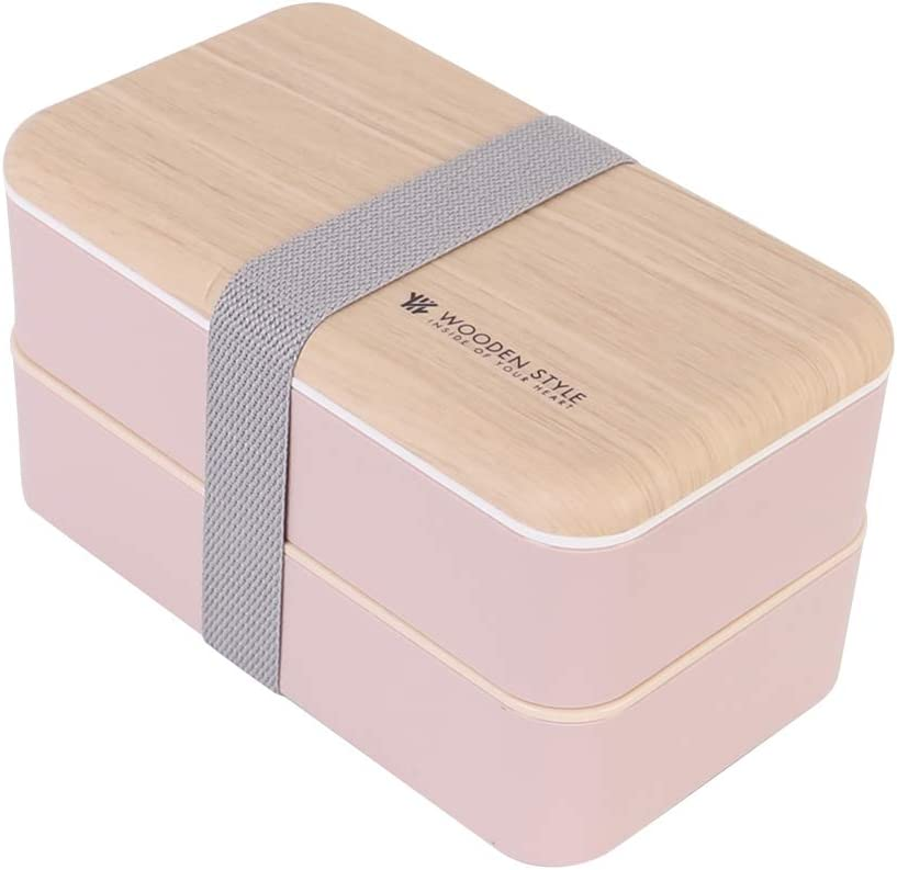 Lunch Bento Box Wood Grain Style Food Storage 2 Stackable Square Containers with Chopsticks and Spoon (pink 1200ml)