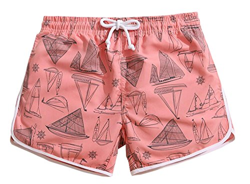 KM Couple's Beach Shorts/Surf Shorts With Pocket Quick Dry Casual#Pink (Female M) by KM Shorts