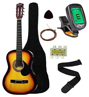 "Crescent MG38-NR 38"" Acoustic Guitar Starter Package, Natural (Includes CrescentTM Digital E-Tuner)"
