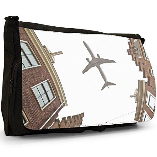 Laptop Bag Rooftops Over Planes Black The Flying Canvas Messenger School High Aeroplanes Airplanes Shoulder Large 004qzUnR