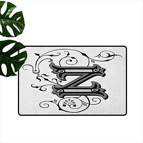 (RenteriaDecor Letter Z,Doormat The Last Letter of The Alphabet in Calligraphic Design Z Symbol Curls Swirls 36