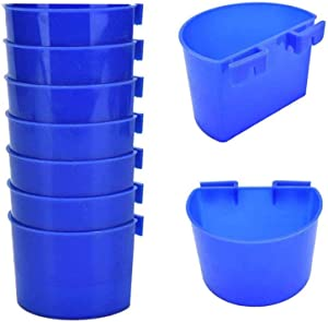 7 PCS Bird Cage Cups Hanging Rabbit Feeders Food Dish for Cages Chicken Water Cups Pet Bowl with Hooks Plastic Feeding & Watering Supplies for Pigeon Poultry Roosters Gamefowl Parakeet (Blue Arched)