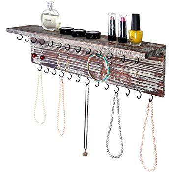 MyGift 2-Tier Contemporary Rustic Torched Wood Wall Mounted Jewelry Necklace Display Rack w/Storage Shelf  sc 1 st  Amazon.com & Amazon.com: Angelynnu0027s Wall Mount Necklace Holder Organizer Storage ...