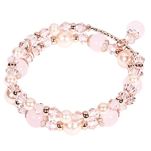 Tomazon Fashion Handmade Faux Pearl Beaded Crystals Stretch Elastic Wrap Around Wrist Bracelet Bangles for Women Girls (2 rows - pink) (Pink Beaded Charm)