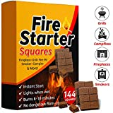 Bangerz Sunz Fire Starter Squares 144, Fire Starters for Fireplace, Wood Stove & Grill, Camp Fire Pit Charcoal Starters 50B, USA Made