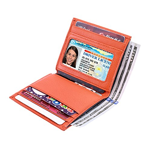 Reeple Women's RFID Blocking Small Compact Bifold Leather Pocket Wallet with ID Window(Orange) by Reeple (Image #2)