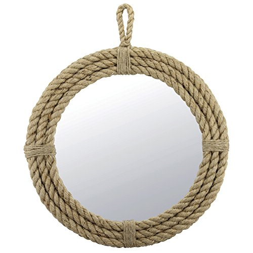 Stonebriar Small Round Wrapped Rope Mirror with Hanging Loop, Vintage Nautical Design Vintage Beveled Glass