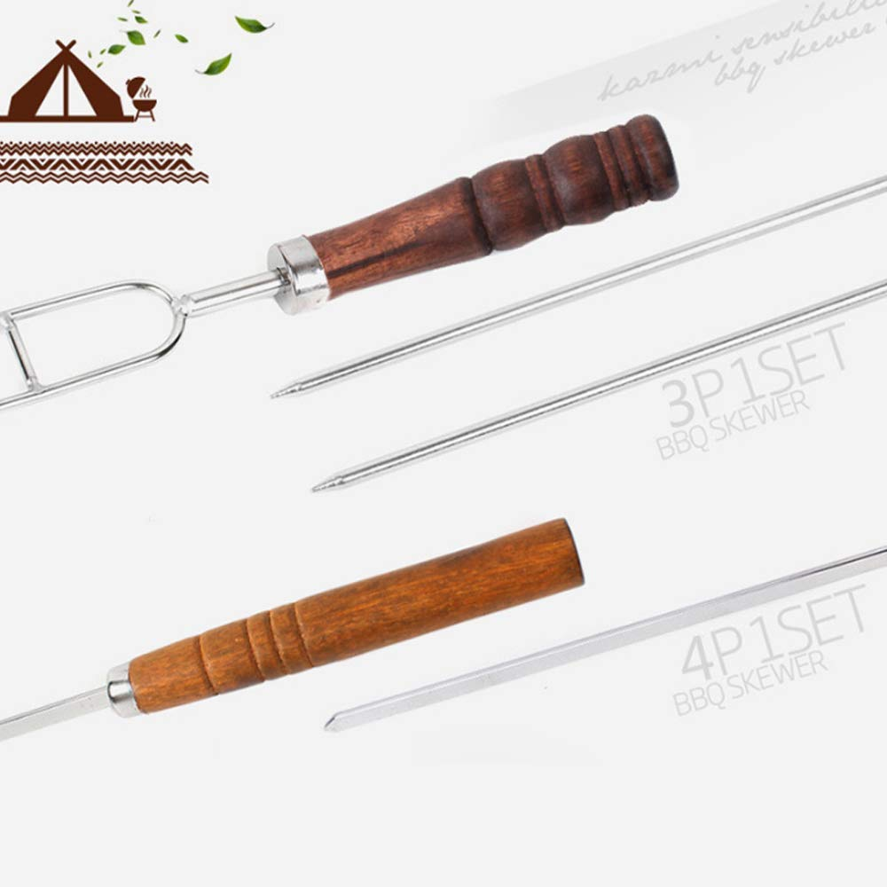 DONGXIUB Grilling Stainless Steel Needles Barbecue Forks Roasting Sticks BBQ Forks and U Shape Metal Shish Kebab Skewers with Wooden Handle 7 Piece Set by DONGXIUB