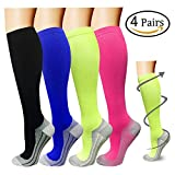 Compression Socks For Men & Women - 4 Pairs - BEST Graduated Athletic Fit for Running, Flight Travel, Pregnancy - 15-20mmHg