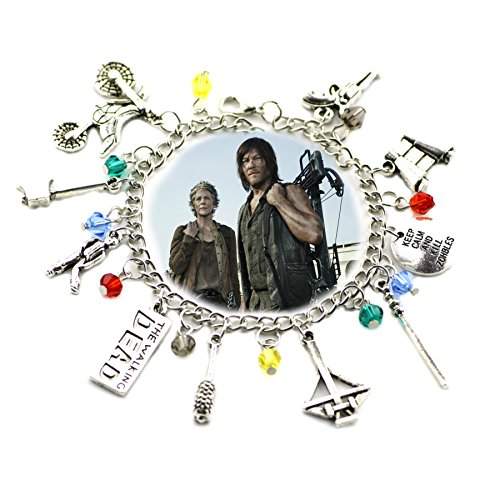The Walking Dead TV Inspired Jewelry Collection 10 Charms Toggle Clasp Bracelet in Gift Box by Superheroes Brand