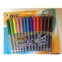 Bic 14 colores Mark It Marcadores de puntos finos permanentes