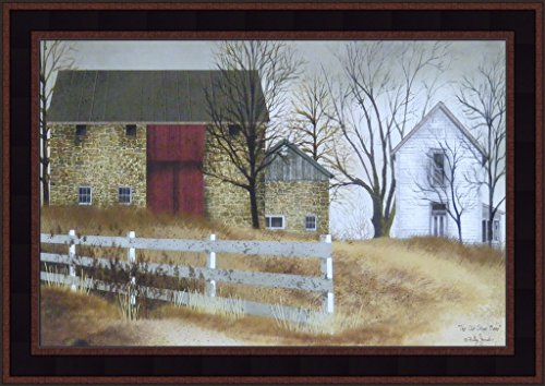 (The Old Stone Barn by Billy Jacobs 15x21 Country Farm House Primitive Folk Art Print Wall Décor Framed Picture)