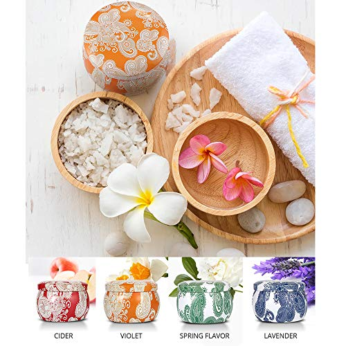 Gozheec Scented Candles Gift Sets, Natural Soy Wax Tin Candles with Essential Oil, Portable Travel Tin for Aromatherapy Relaxation and Home Decor - 4 Pack