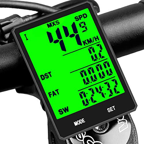 SY Cycling Computer,Multifunction Wireless with Extra Large LCD Backlight Display Bike Speedometer and Odometer with Automatic Wake-up Multifunction Fits All Bikes