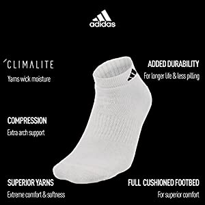 adidas Men's Athletic Low Cut Sock, Black/Aluminum 2, Pack of 6, Shoe Size 6-12