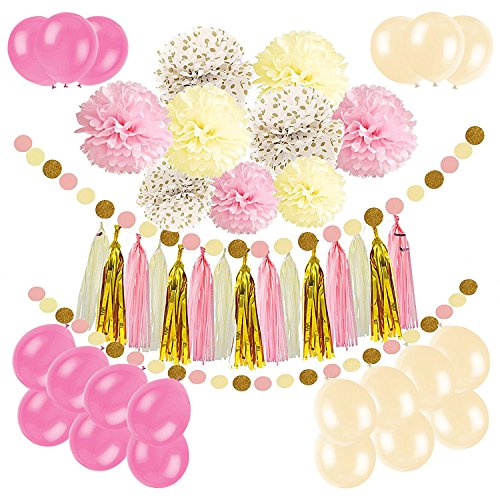 (Newland Tissue Paper, 46 pcs Party Decorations, Pom Poms Flowers, Tissue Tassel Garland, Latex Balloons, Polka Dot Garland Kit, for Wedding Birthday Party Festival Decorations (Pink)