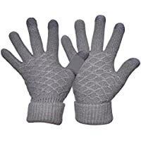 Yeeasy Womens Knit Gloves Touchscreen Winter Warm Cozy Thick Wool Knitted Mittens