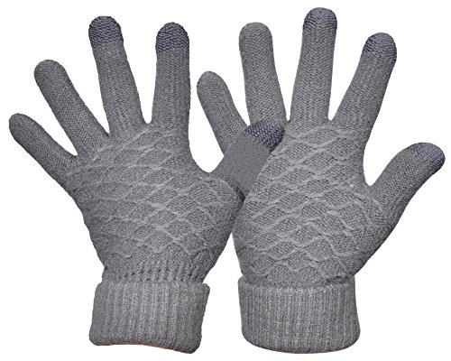 Gray Knit Glove (Yeeasy Womens Knit Gloves Touchscreen Winter Warm Cozy Thick Wool Knitted Mittens (Gray))