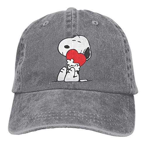 Stylish SNOOPY-2B Print Neutral Cotton Denim Adjustable Hat for Men and Women Gray -