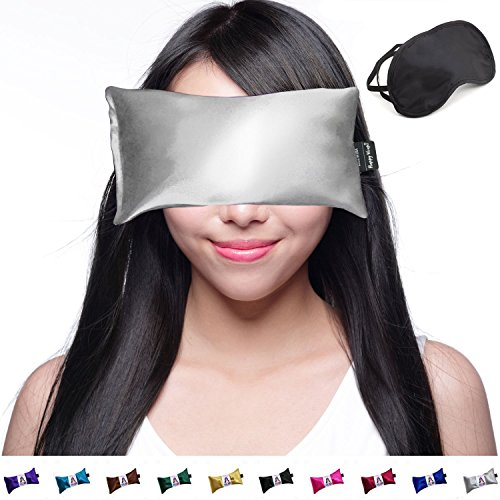 Happy Wraps Lavender Eye Pillow Hot Cold Aromatherapy Weighted Eye Pillows for Sleeping Yoga Migraines Stress Relief Gifts for Women Men and Christmas Plus Free Eye Mask - Made in USA - Silver