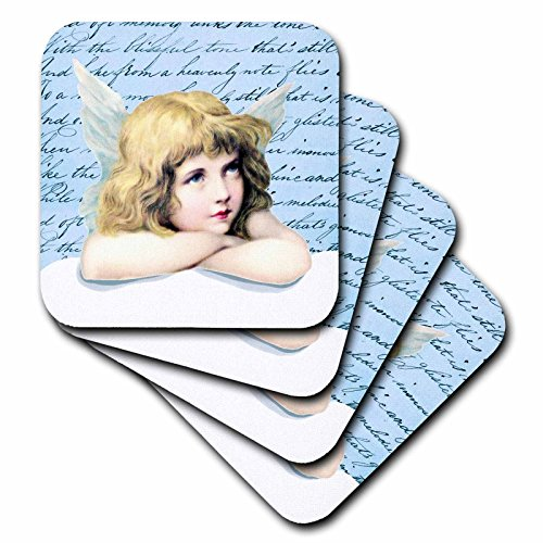 3dRose cst_112916_3 Blond Hair Blue Eye Cherub Winged Angel Girl on Cloud Vintage Art Light Blue Cupid Shabby Chic Ceramic Tile Coasters, (Set of 4)