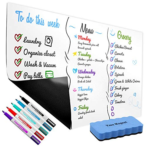 """Magnetic Dry Erase Whiteboard Sheet for Kitchen Fridge - 17X11"""" - 5 Markers and Big Eraser with Magnets - Stain Resistant Surface - Refrigerator Grocery List - White Board Organizer and Planner"""