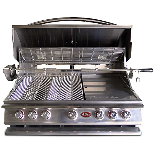 Cal Flame BBQ13P05 BUILT IN GRILL P5 5-BURNER LP,40-inch 304 Stainless Steel,Five(5)15,000 BTU cast Stainless Steel Burners, 93,000 BTU overall, 1,000 sq.in. cooking surface,Interior Lights,Rotisserie, Griddle,Smoke Box 1 Cast Stainless Burner