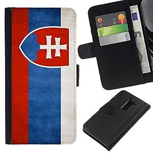 KLONGSHOP // Tirón de la caja Cartera de cuero con ranuras para tarjetas - Nacional bandera de la nación País Eslovaquia - LG G2 D800 //
