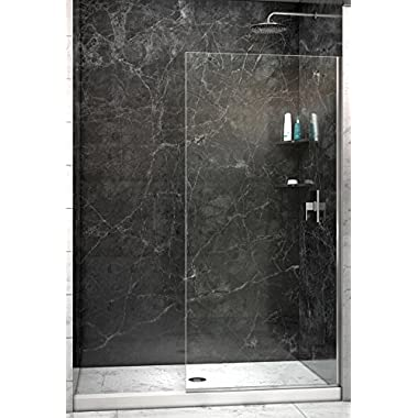 DreamLine Linea 34 in. Width, Frameless Shower Door, 3/8  Glass, Brushed Nickel Finish