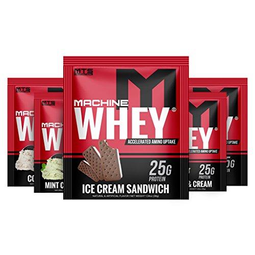 MTS Machine Whey Protein Single Serving (Variety 5 pack) Mint C&C, C&C, PB C&C, ICS, and Red Velvet