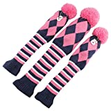 Knit 3pcs Headcover Set Vintange Pom Pom Sock Covers 1-3-5 Pink & White NEW