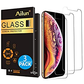Ailun Compatible with Apple iPhone Xs and iPhone X Screen Protector [3 Pack][5.8inch Display] Tempered Glass,2.5D Edge Advanced HD Clarity Work Most Case