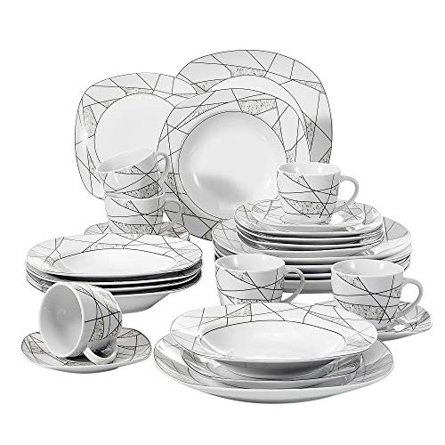 VEWEET 30-Piece Porcelain Dinnerware Set Ivory White Irregular Patterns Kitchen Plate Sets with Dinner Plate, Soup Plate, Dessert Plate, Saucer and Mug, Service for 6 (Serena ()