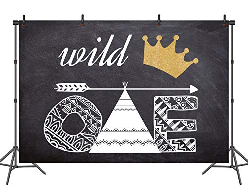 Sensfun Wild One Birthday Backdrop Crown Arrow Bohemian Painting Party Decoration Banner Photography Background Baby Studio Photo Booth Props 7X5ft