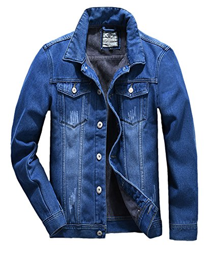 Plaid&Plain Men's Classic Slim Fit Distressed Sherpa Fur Fleece Lined Denim Jean Jacket 002-1# Blue L