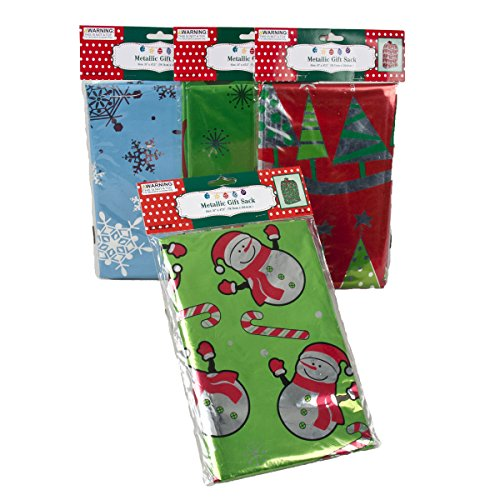 "Set of 4 Christmas Gift Sack Metallic Bags – 31"" x 47 1/2"" - 4 different Designs (Snowman,Tree,Snowflake,Christmas Ornaments) (4) (Sack Snowman)"