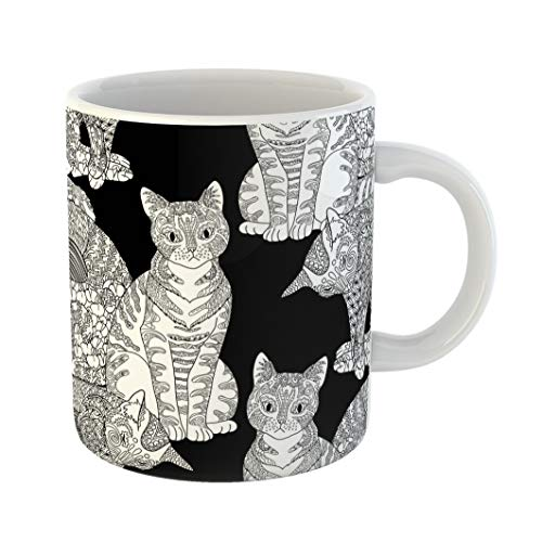Emvency Coffee Tea Mug Gift 11 Ounces Funny Ceramic High Detail Pets in Zentangle Adult Coloring Page Cats for Antistress Therapy Gifts For Family Friends Coworkers Boss Mug ()