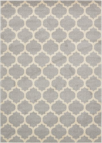 Unique Loom Trellis Collection Light Gray 7 x 10 Area Rug (7' x 10') (X 10 7 Rug)