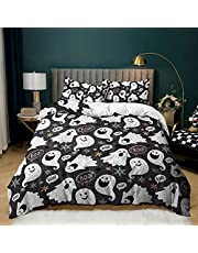 Annier Comforter Bedding Halloween Spider Cartoon Cute Pumpkin Festival Grimace Web Bat Cat Night Bed Sets 3/4PCS with Quilt Covers/Sheets/Pillowcases Twin/Full/King/Queen