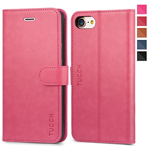 TUCCH iPhone 8 Case, iPhone 7 Wallet Case, Premium PU Leather Flip Folio Wallet Case with Card Slot, Stand Holder, Magnetic Closure [TPU Shockproof Interior Case] Compatible with iPhone 7/8, Hot Pink